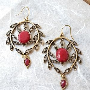 Antiqued drop earrings with leaf pattern & red